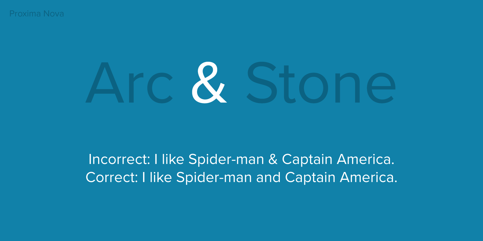 Ampersand is only used for titles and names, never in a sentence. Ex. Incorrect: I like Spider-man & Captain America. Correct: I like Spider-man and Captain America.