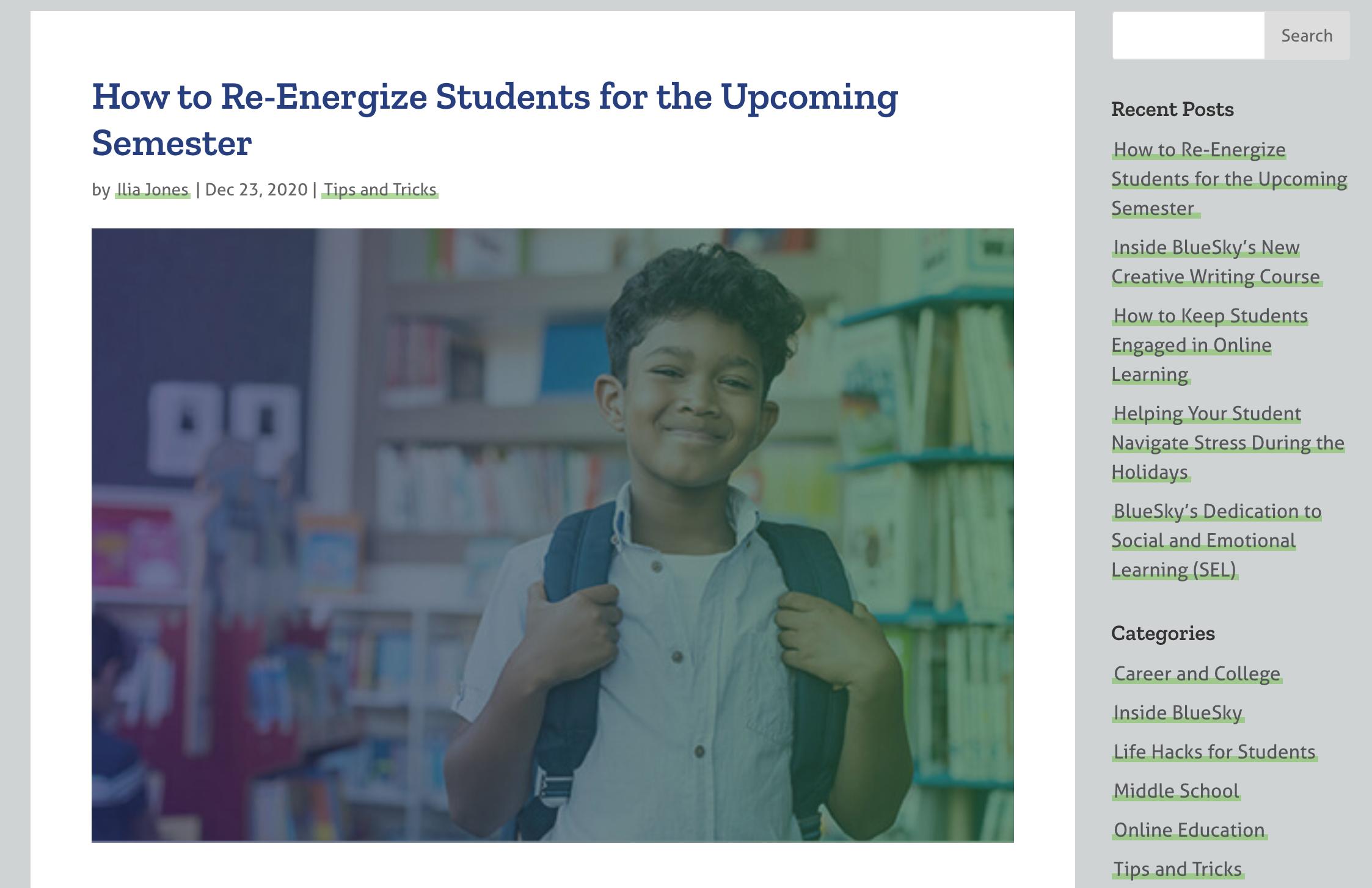 BlueSky Online School Website Design