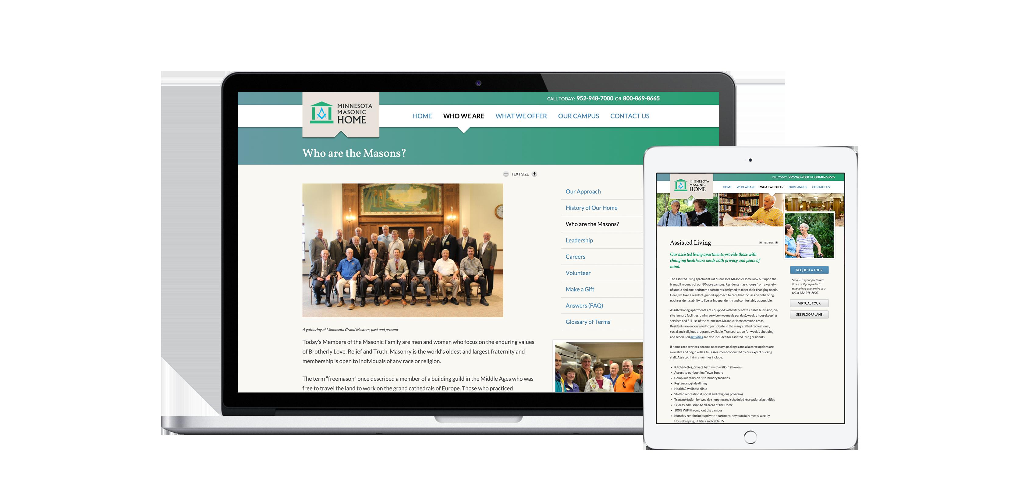 Minnesota Masonic Home Website on Macbook and iPad