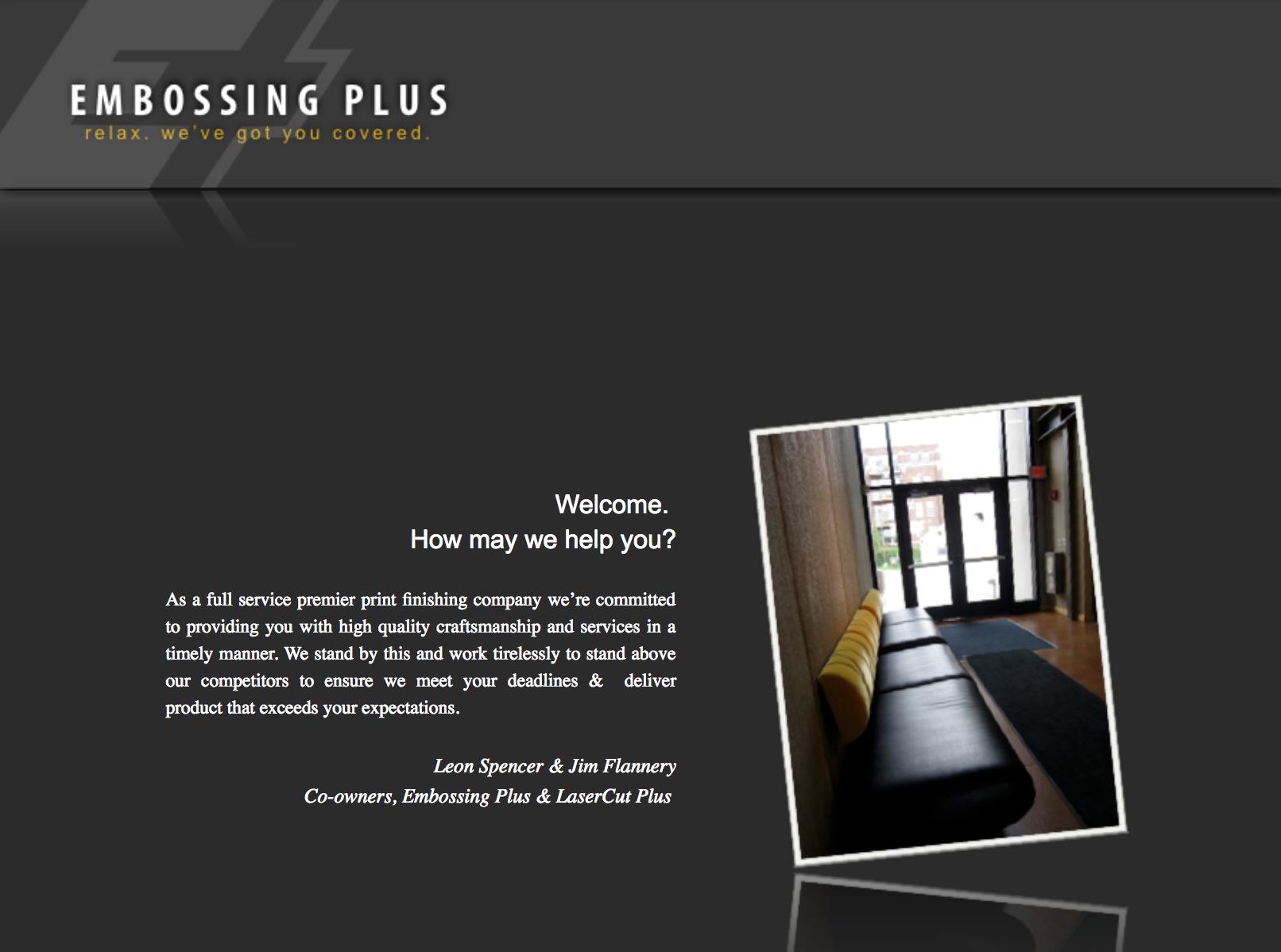 Embossing Plus's website before we redesigned their website.