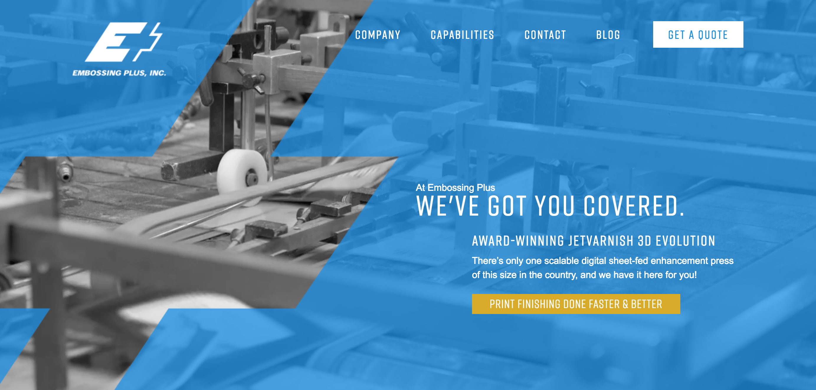 Embossing Plus's website after we redesigned their website.