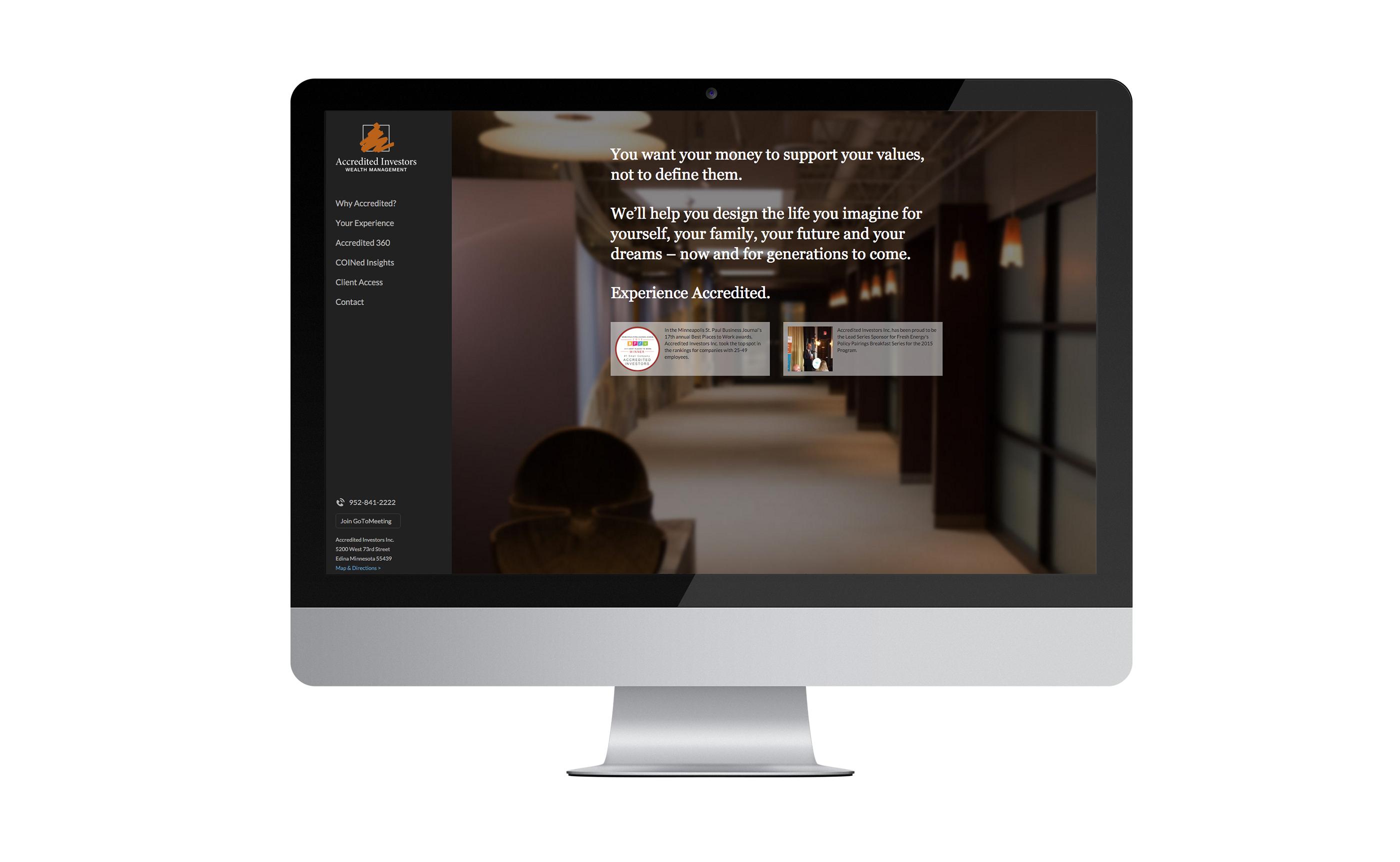 Accredited Investors Website on Mac Desktop Screen