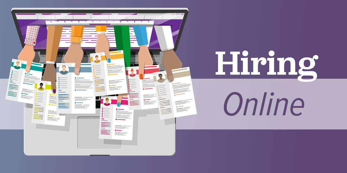 How to hire online, represented by hands and resumes extending from a laptop screen.