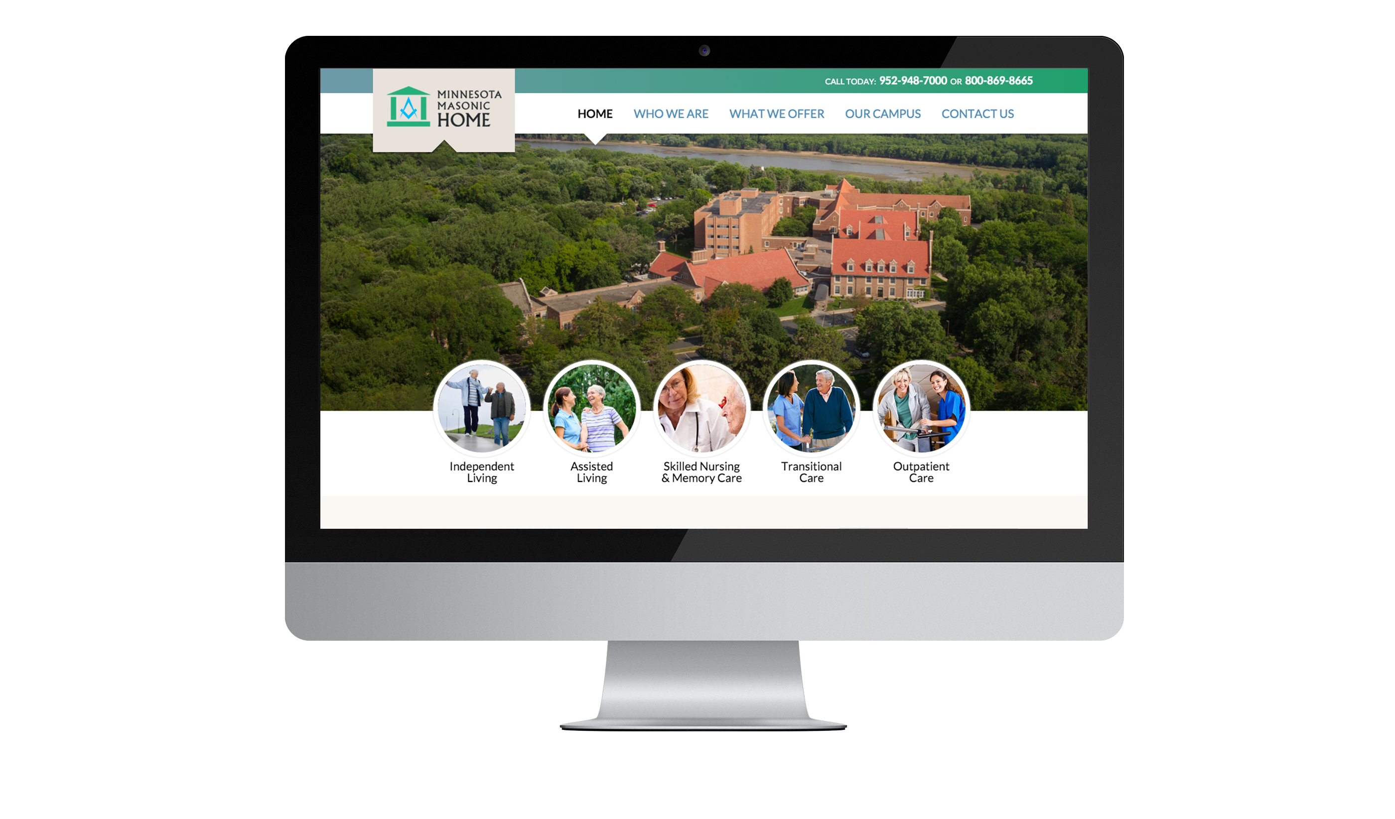 Minnesota Masonic Home Website on Mac Desktop Screen